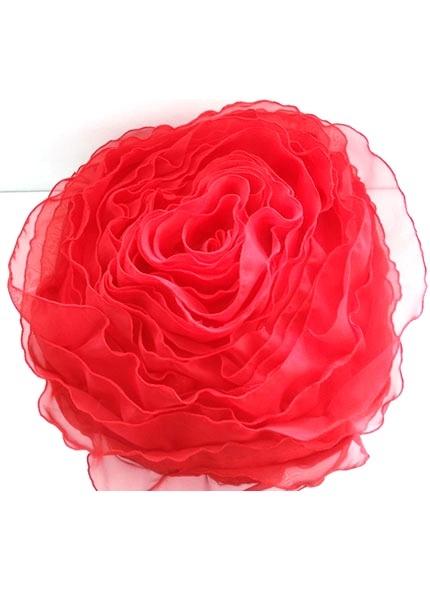 Almofada Cetim Formato Rosa Vermelha 40cm diâmetro